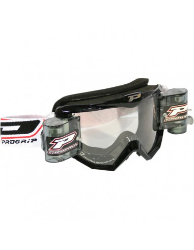 PRO GRIP BRILLE MX/ENDURO MIT ROLL-OFF SCHWARZ 3208 GLASKLAR