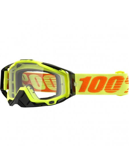 100% RACECRAFT ATTACK YELLOW OFFROAD BRILLE KLAR
