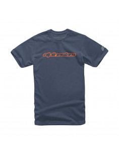 ALPINESTARS T-SHIRT WORDMARK BLAU/ORANGE/GRAU